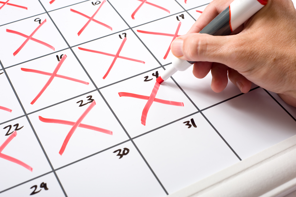 Red Xs Marking Off The Days On A Calendar